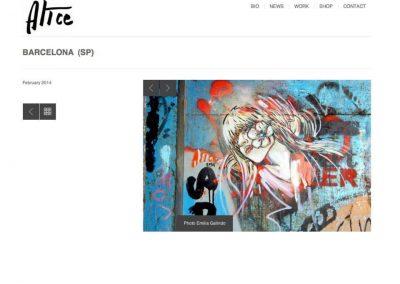 Publicación en la web oficial de Alice Pasquini