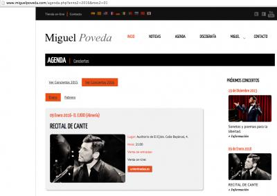 Publicación en la web oficial de Miguel Poveda