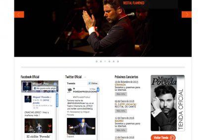 Banner en la web oficial de Miguel Poveda